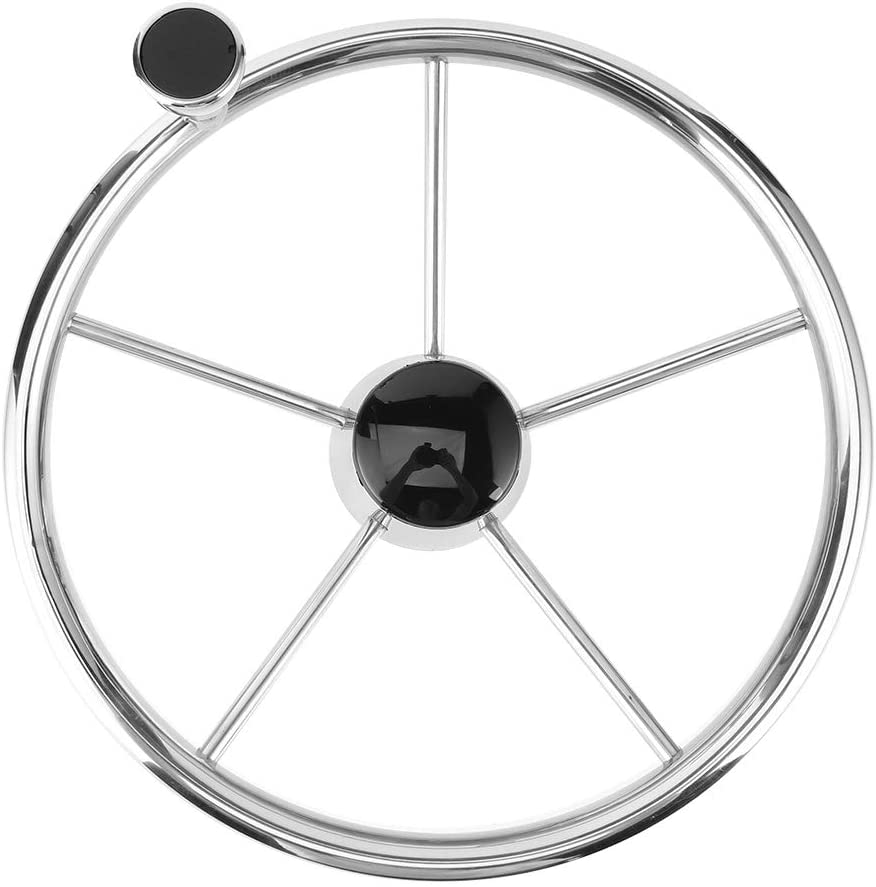 Boat Steering Wheel, 13.5In 5 Spoke Stainless Steel Steering Wheel with Knob,Universal Marine Boat Steering Wheel Center Cap