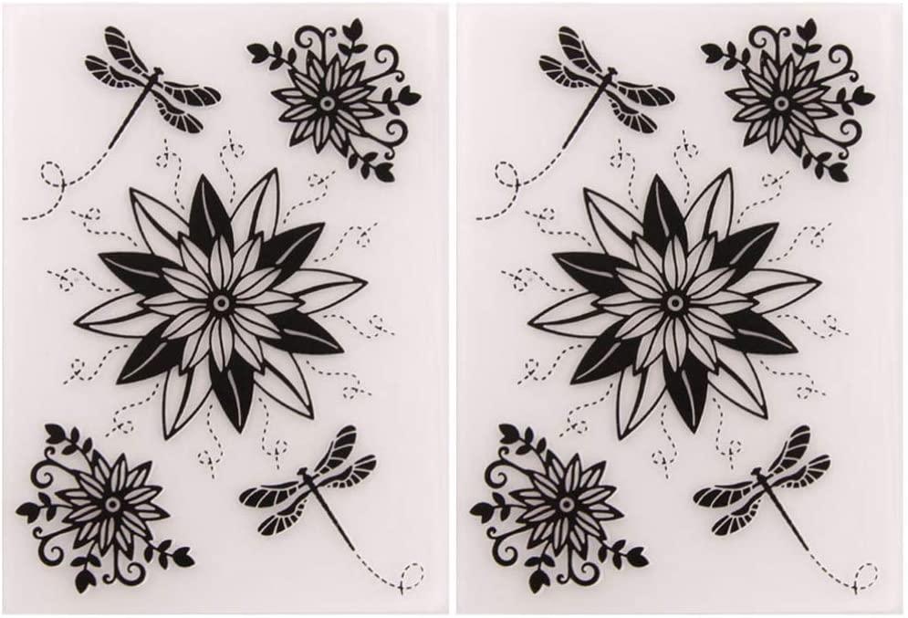 Exceart 2pcs Plastic Embossing Folder Stencil Template Molds DIY Scrapbooking Paper Card Photo Album Card Decoration for Pleasure Time (Flowers Dragonflies)