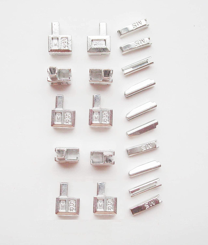 20 pcs #5 Metal Zipper Head Retainer Box Zipper Bottom Sliders Retainer Insertion pin, Jacket Coat Zipper Repair Kit (Silver)