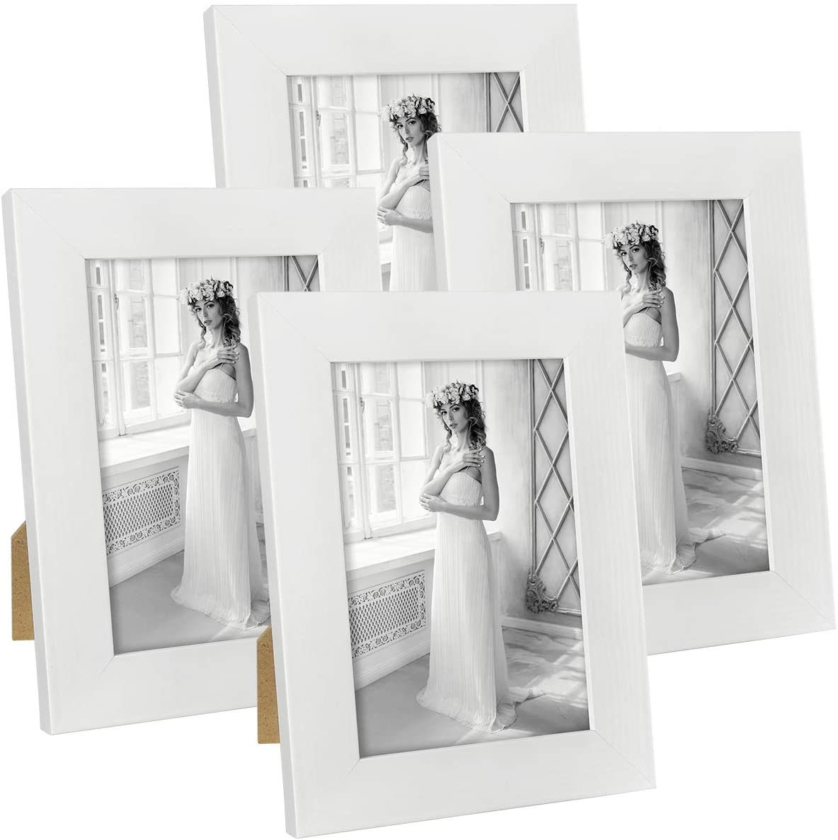 Hap Tim 4x6 Picture Frame White Wooden Photo Frames for Tabletop Display and Wall Decoration, Set of 4 (CWH007-4x6-WT)