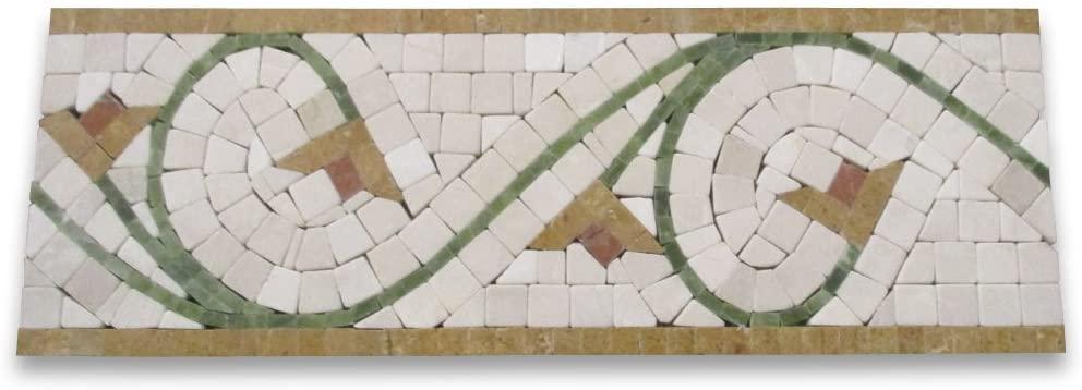 Agean Antique 5x14-1/2 Marble Mosaic Border Tumbled