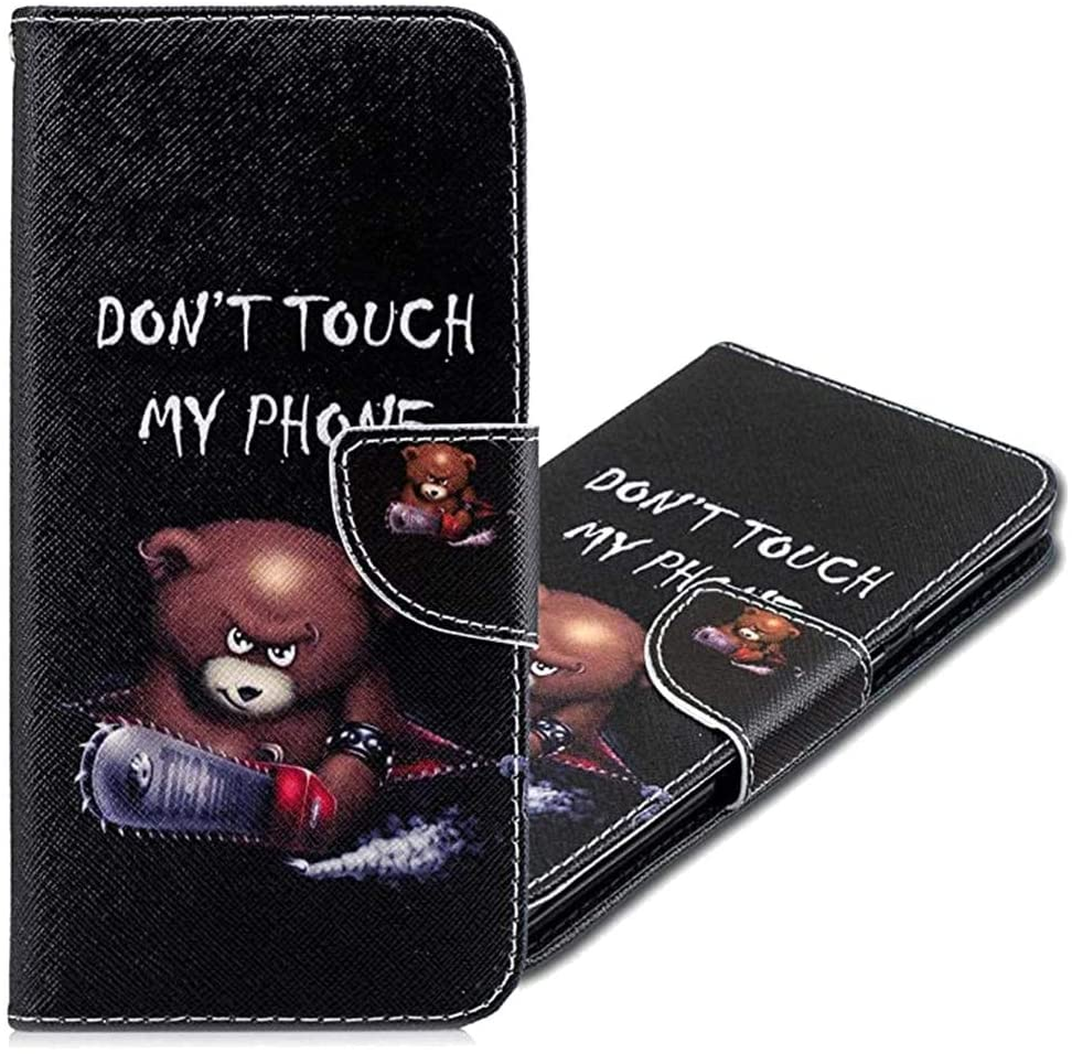 MRSTERUS for Galaxy A30S Case Clamshell Protective case Shockproof PU Leather Clamshell Notebook Wallet case Magnetic Stand Card case Slot with Stand for Galaxy A50 Little Bear BF