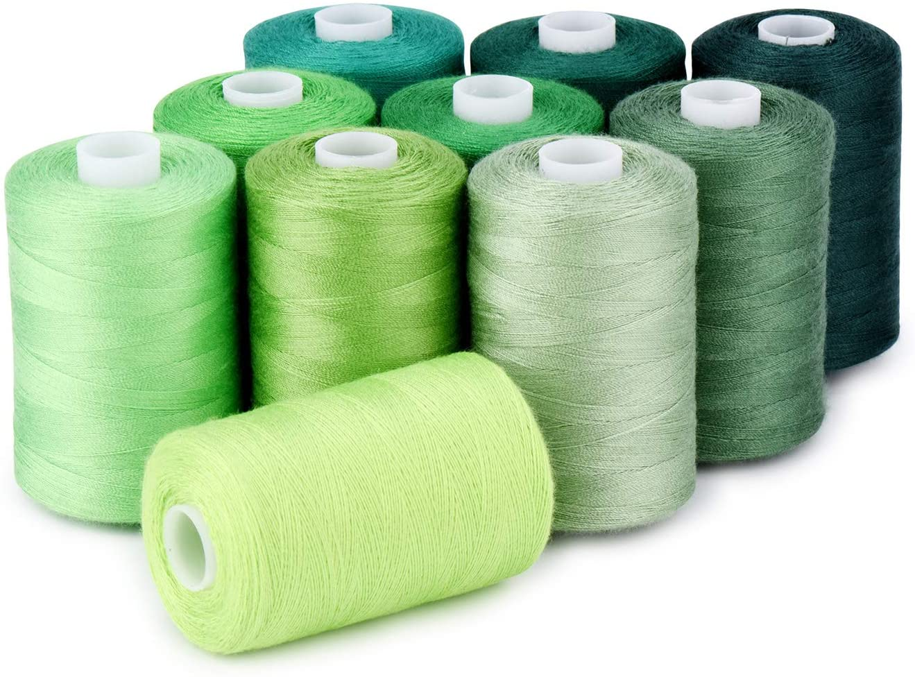 Sewing Thread 12 Colors Set 40S/2 for Sewing Machine,Quilting,Hand Sewing (10 Green Colors)