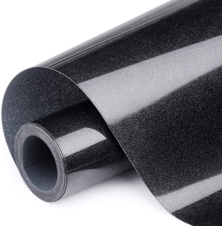 ARHIKY Heat Transfer Vinyl Glitter HTV Black 12 Inches by 10 Feet Iron On DIY T-Shirts and Fabrics