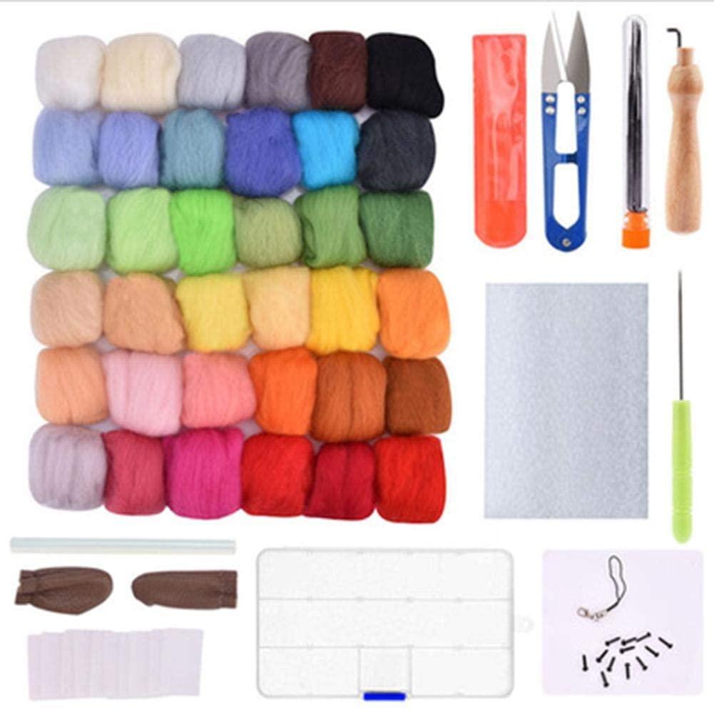 Needle Felting Start Kit Wool Felt Set Wool Felt Kit Wool Fiber Beginners Handmade Handicraft Wool Felt Tools for DIY Craft Project 36 Colours