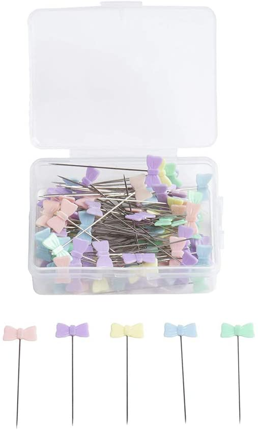 100pcs Sewing Accessories Patchwork Flower/Bow tie/Button Pins Sewing Pin with Box DIY Sewing Patchwork Pins Arts Crafts,Straight Quilting Pins for Dressmaking, Jewelry, Sewing Project (A)