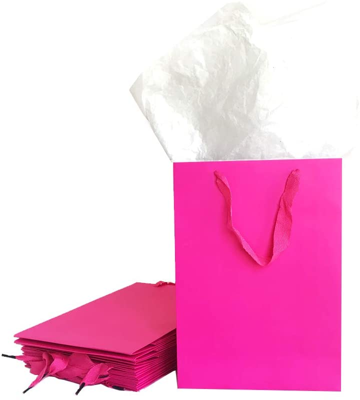 Wide Handle Business Heavy Duty Gift Bags with Tissue (Hot Pink, M 11x7.8x3.9)