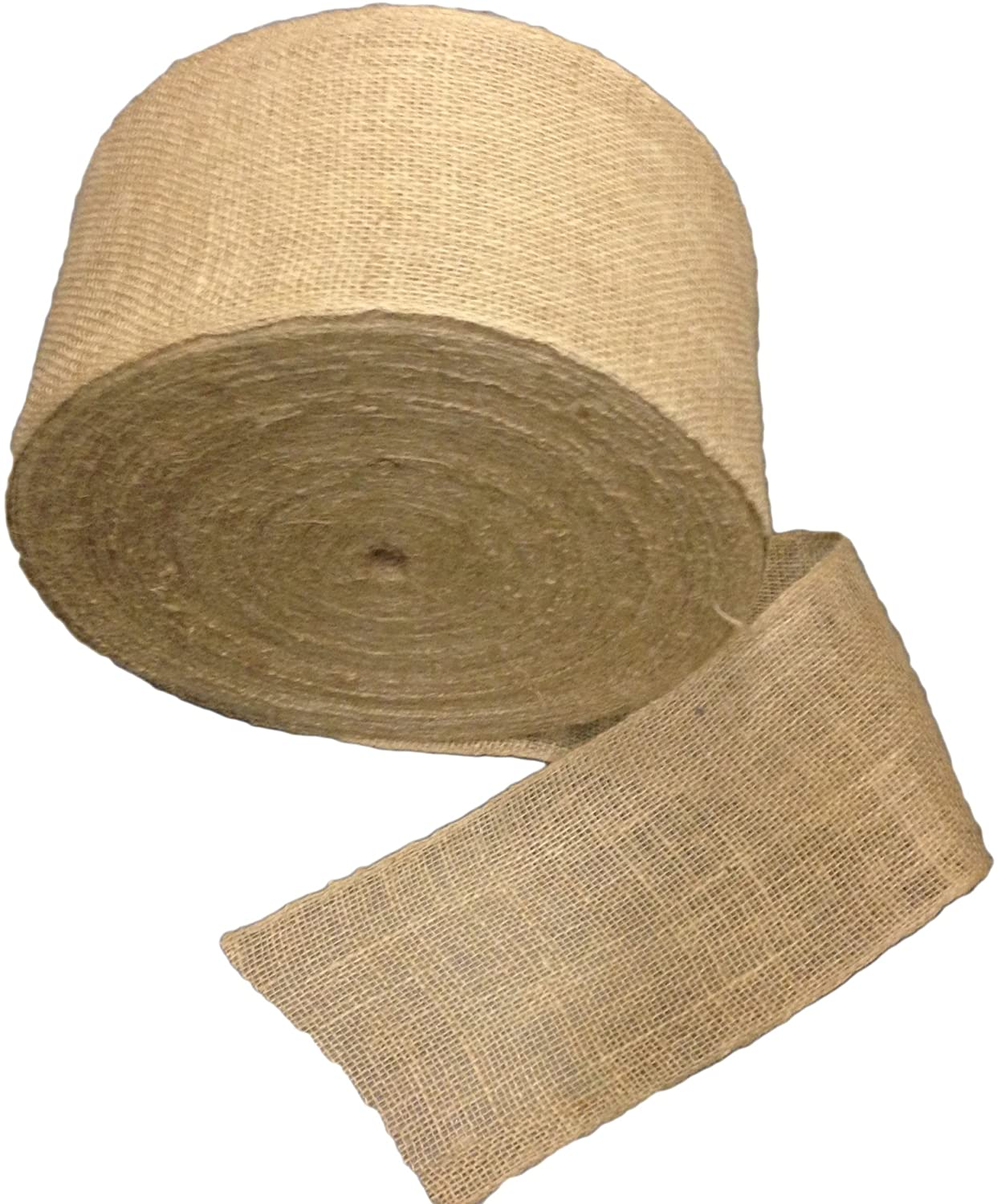 6 Inch Burlap Roll with Sewn Edges - 100 Yards