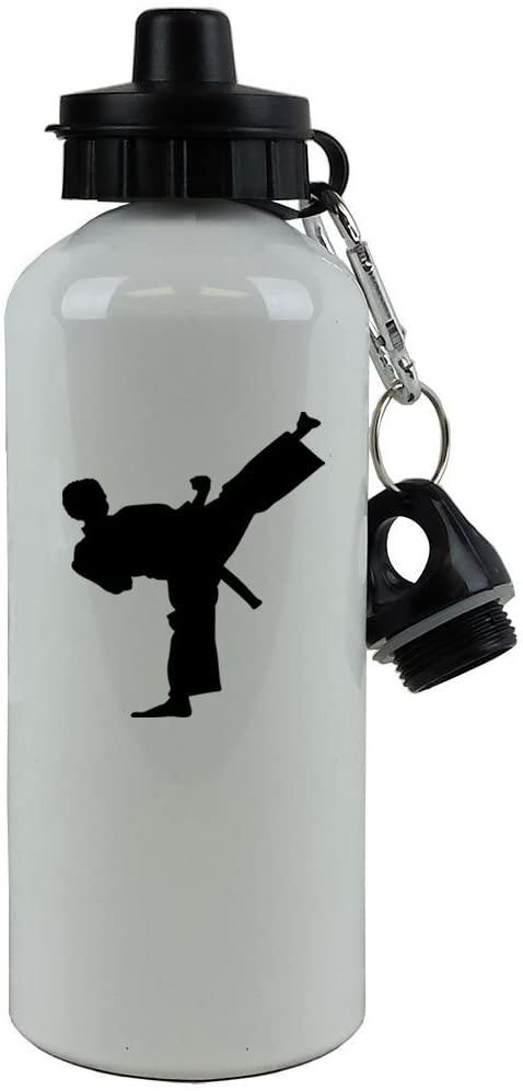 Personalized Custom Karate Aluminum White 20-Ounce 600ML Sport Water Bottle, 2 Lids, Customizable