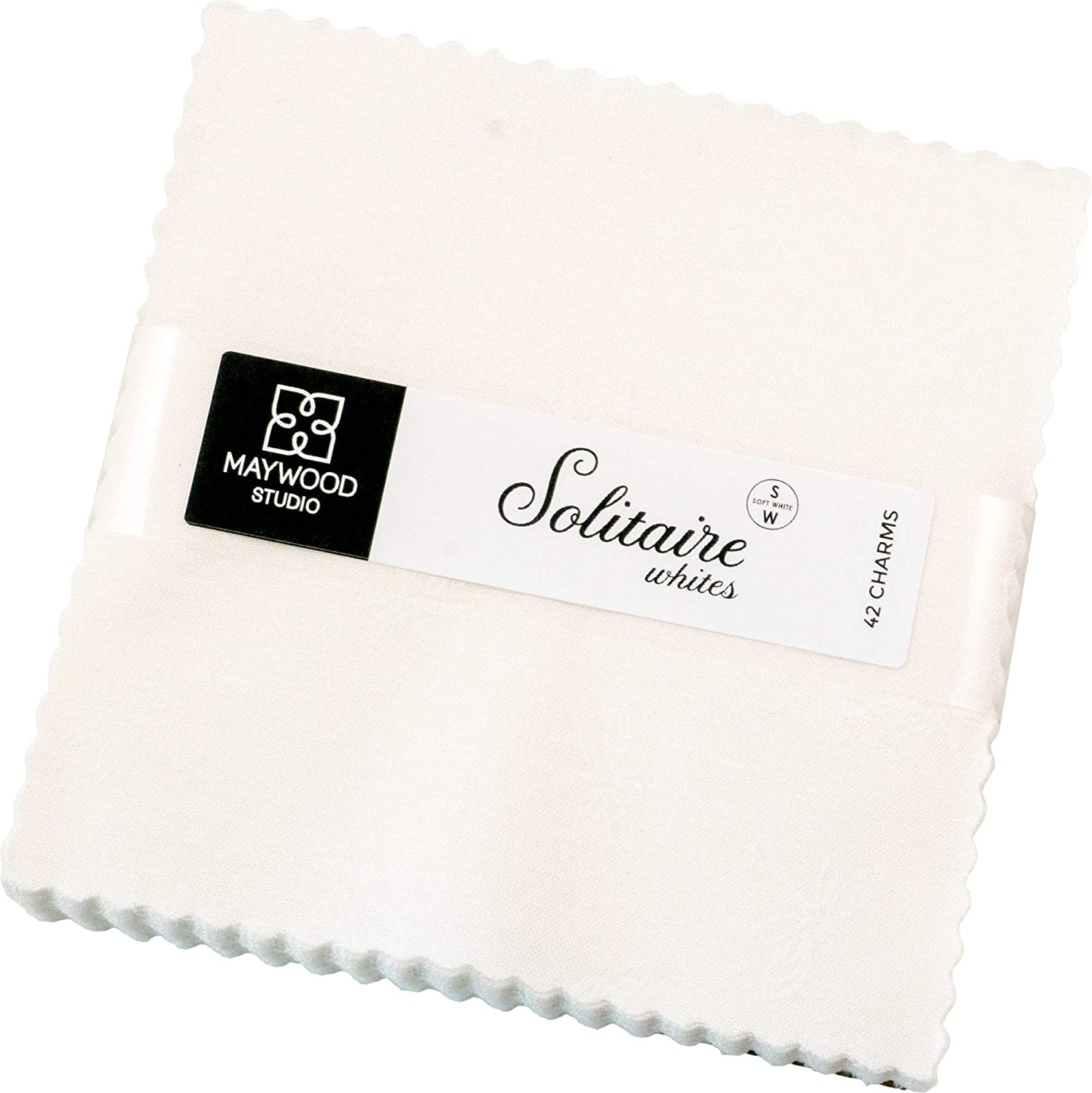 Solitaire Whites Charm Pack 42 5-inch Squares Maywood Studio