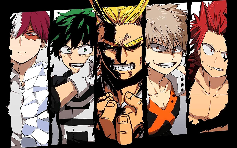 My Hero Academia Izuku Katskuki Shouto Special Group Anime Poster Illustration Poster Art Prints,50 x 70 cm,No Frame