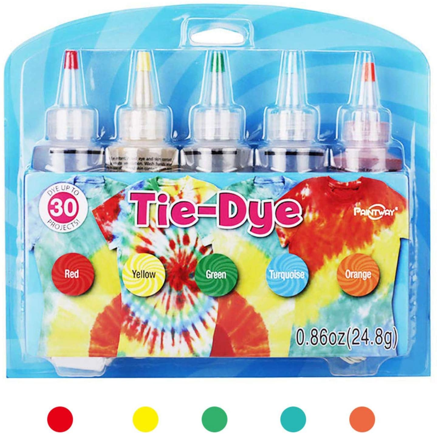 jycous Tie-Dye Kit - 5 Colors Tie-Dye Kit Cotton Linen Clothing Dyes, DIY Fashion Dye Kit Tie-Dye Kits Rainbow