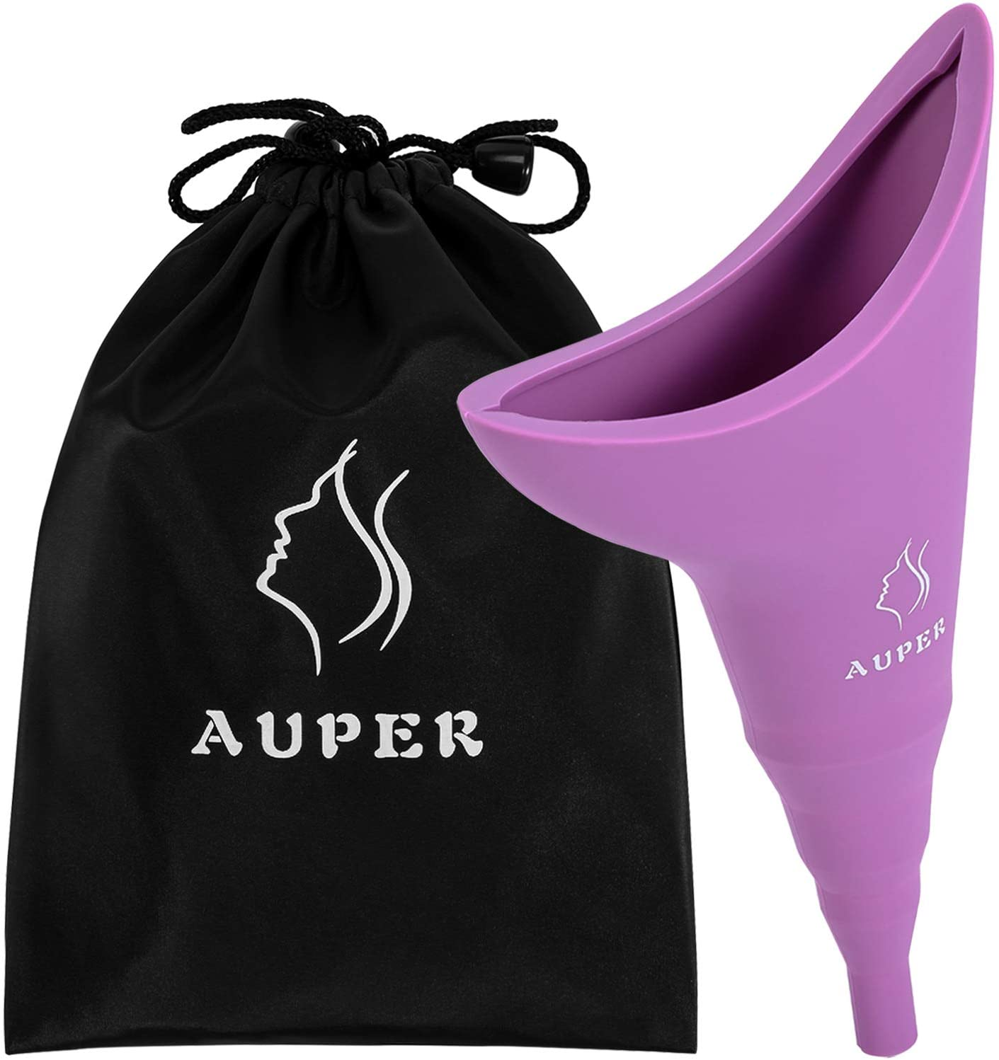 AUPER Female Urination Device, Reusable Medical Silicone Female Urinal for Women Pee Like a Man, Foolproof Portable Womens Pee Funnel for Travel, Festivals, Camping and More with Carry Bag