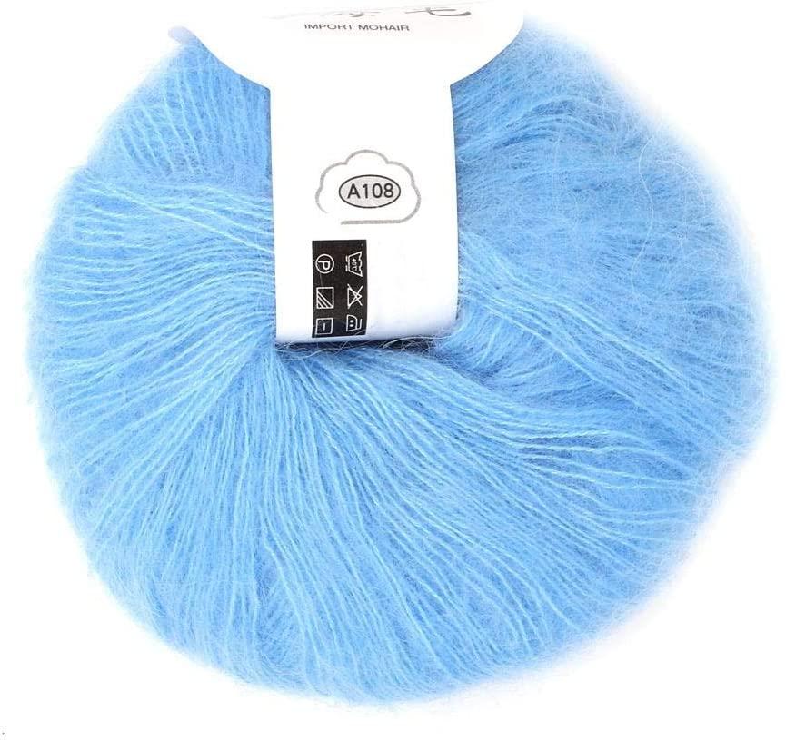 Soft Mohair Cashmere Wool Knitting Yarn Lightweight Hand Knitwear Yarn DIY Shawl Scarf Crochet Thread with A Crochet (Light Blue)