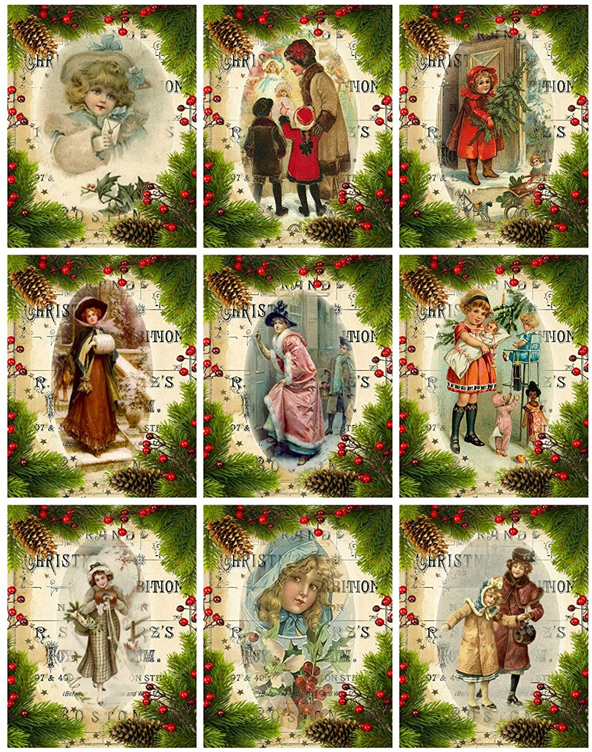 Victorian Images Vintage Christmas Graphics Collage Sheet, Digital Scrapbooking, Prints, ATC, Gift Tags 8.5 x 11