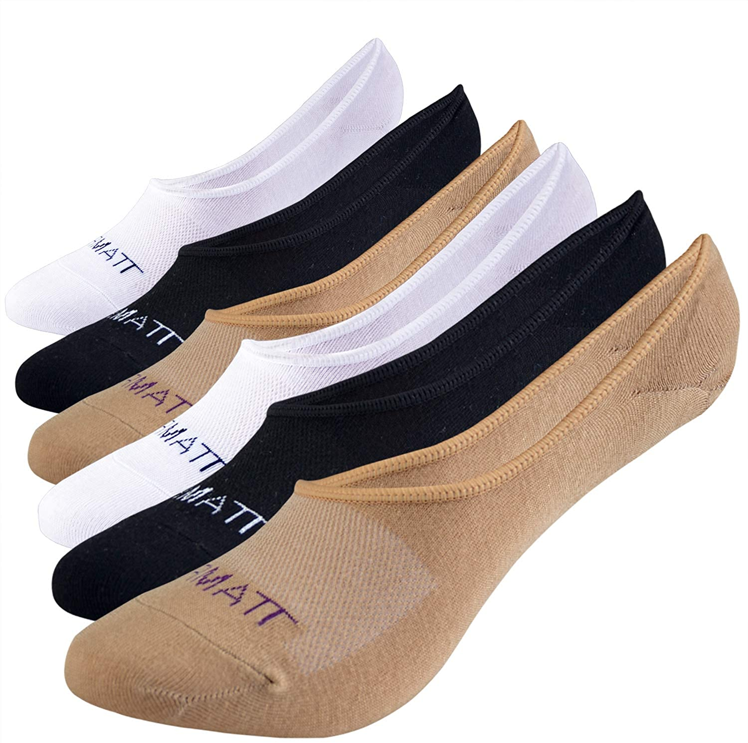 Jormatt 6 Pairs Womens Bamboo Super Low No Show Socks Mesh Ventilation with Anti-Slip Gel Heel Grip