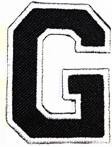 HHO Black letter G Patch English Alphabet Character Embroidered DIY Patches, Cute Applique Sew Iron on Kids Craft Patch for Bags Jackets Jeans Clothes