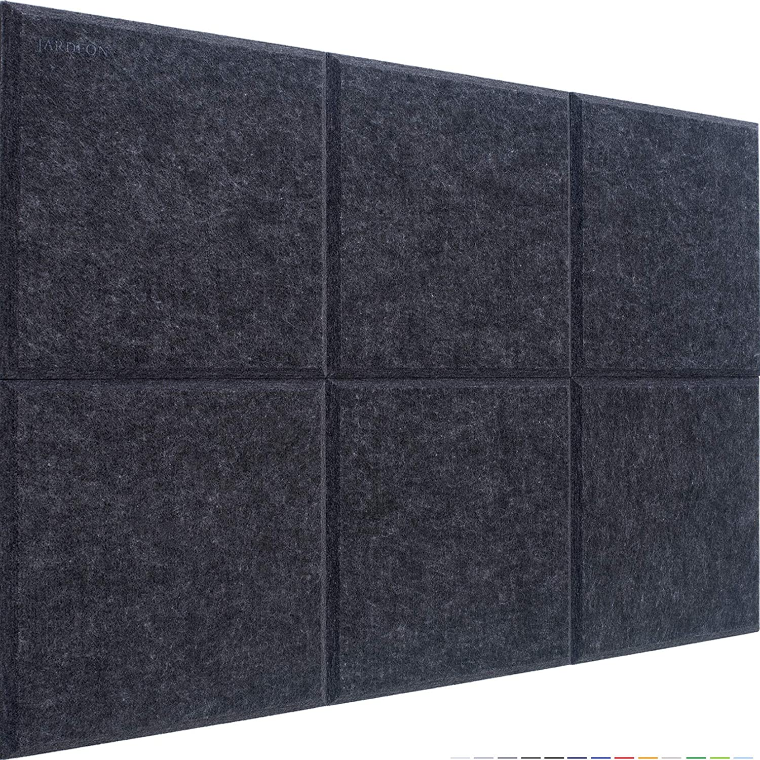 JARDEON Acoustic Panels Charcoal Polyester Sound Proof Padding Beveled Edge Tiles for Echo Bass Insulation 12 X 12 X 0.4, 6 Pack