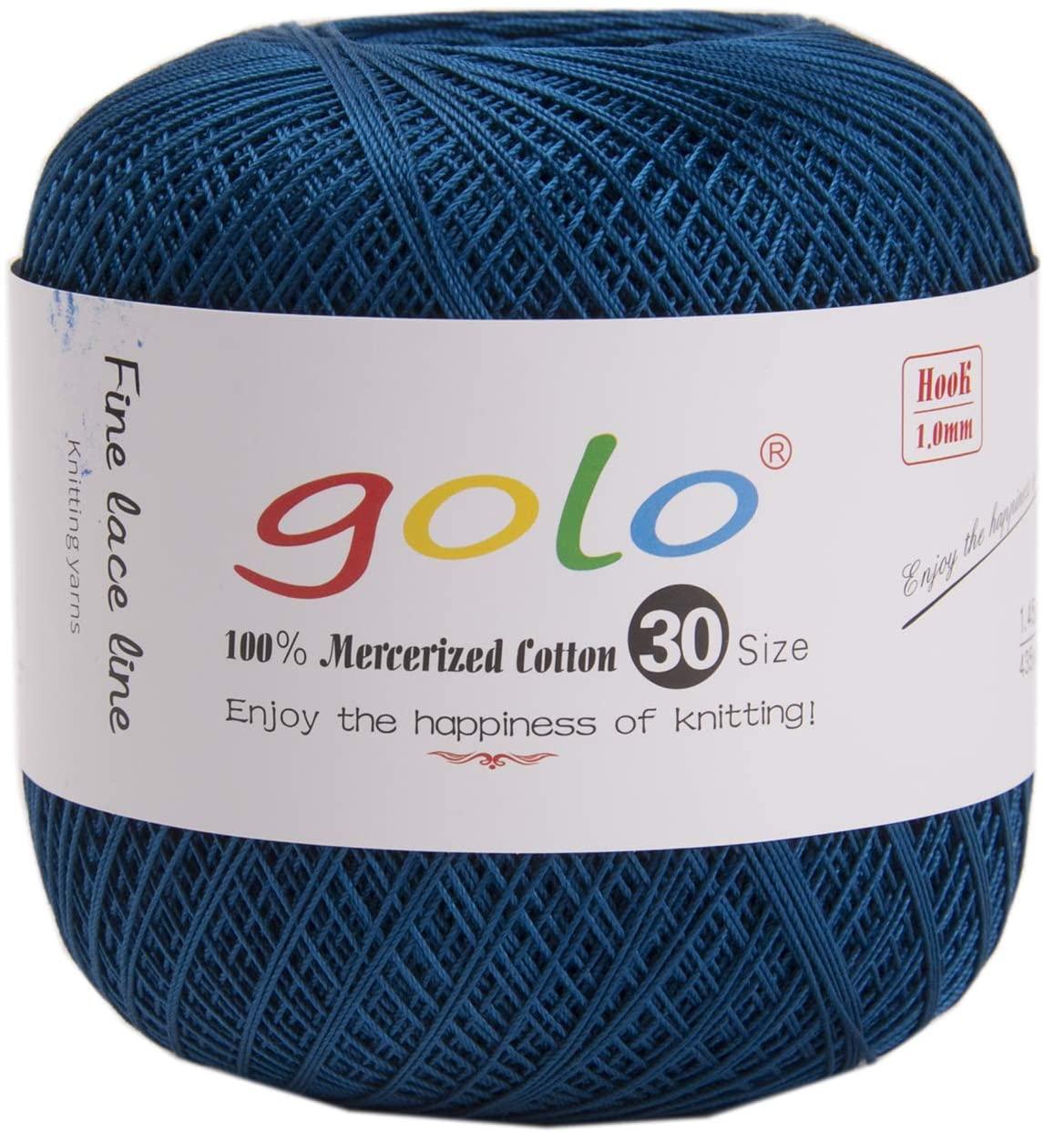 golo Crochet Yarn for Hand Knitting Size 30 Indigo 434