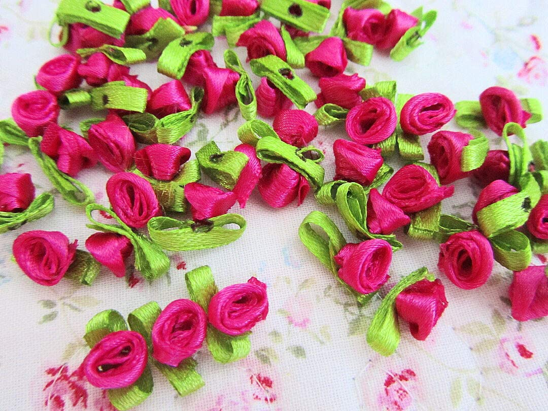 Ribbon for Wedding Gift Bouquets - Wrapping - Party Decorations - DIY Crafting 100 Satin Ribbon Rose Flower Leaf 10mm Applique/Trim/Craft/Hot Pink F78-Fuchsia