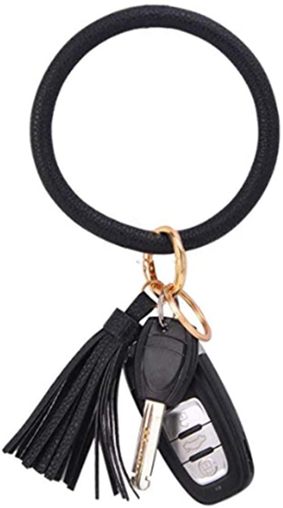 Keychain Bangle Bracelet Keyring Wristlet - Bangle Key Ring Holder Bulk Leather Tassel Bag Charm for Women