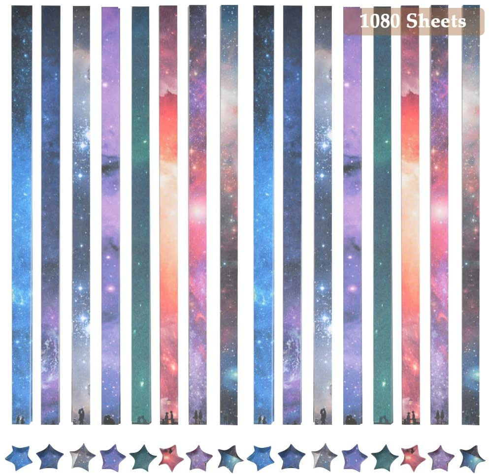 WOWOSS 1080 Sheets Origami Stars Paper, Double Sided 8 Patterns Beautiful Outer Space Sky Folding Star Paper Strips for Kids DIY Hand Arts and Crafts
