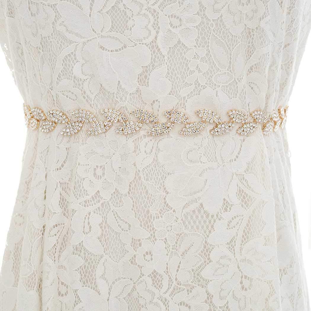 Brishow Wedding Belt Rhinestone Crystal Bridal Sash Thin Appliques Bride Dress Belts Accessories for Women and Girls (Gold-Beige)