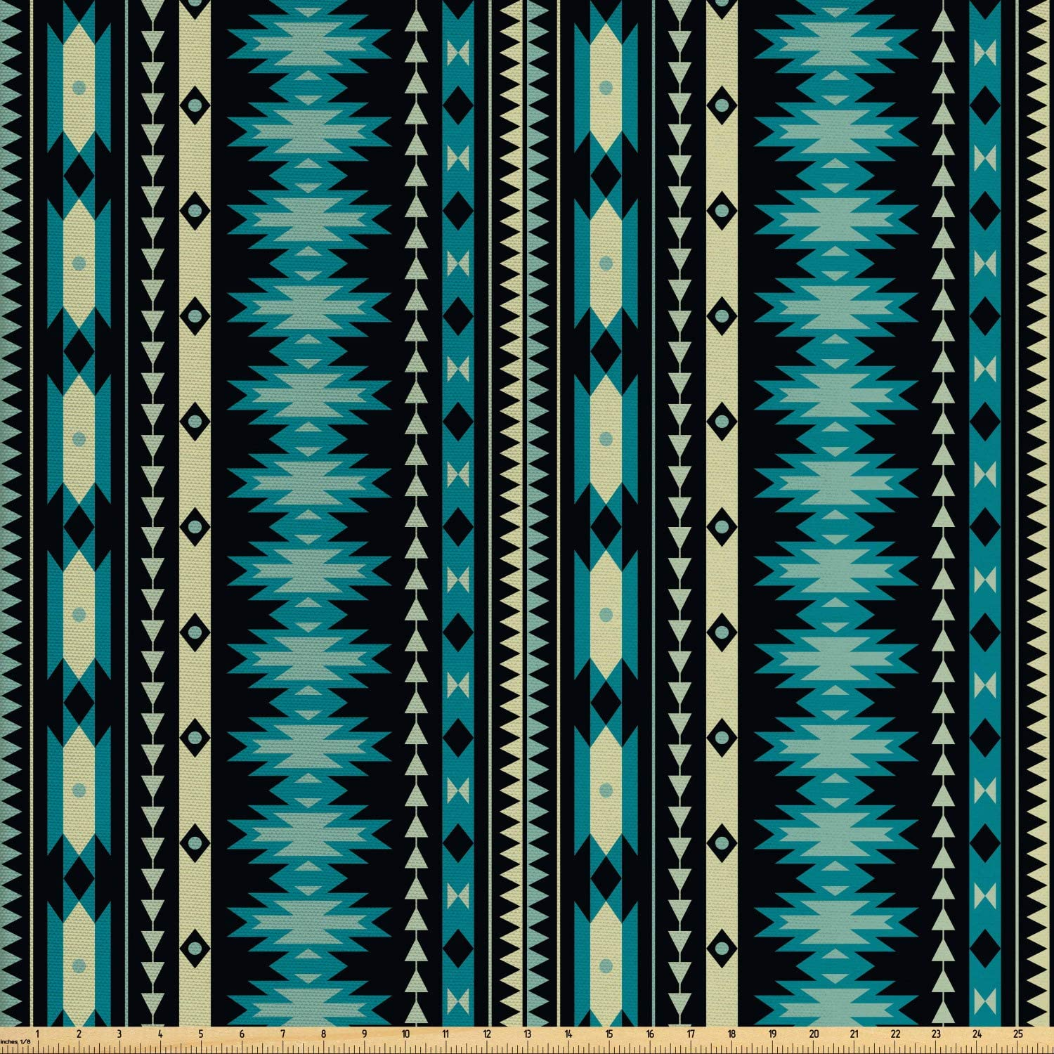 Lunarable Ethnic Fabric by The Yard, Antique Motifs Vertical Ikat Stripes Mayan Cultural Heritage Tradition and Art, Decorative Fabric for Upholstery and Home Accents, 2 Yards, Beige Black