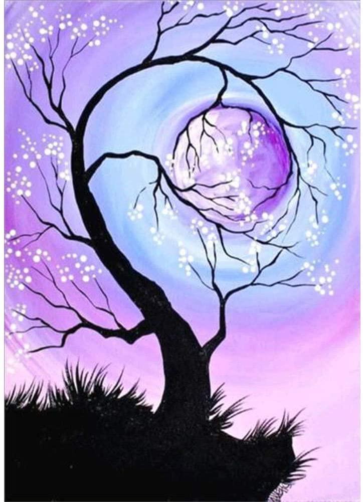 DIY 5D Diamond Painting Kit for Adults Paint with Diamond Full Moon Tree Diamond Art Home Decoration Painting 12 X 16 Inch