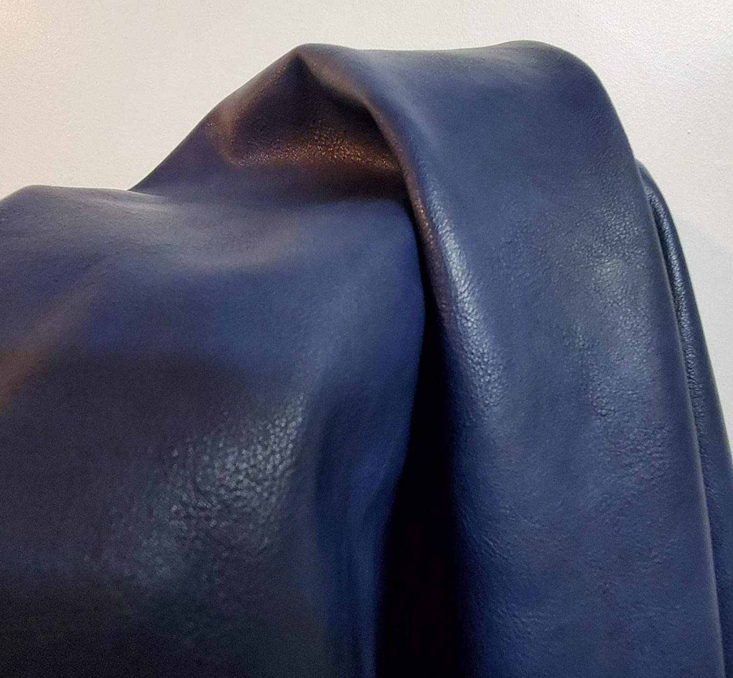 NAT Leathers | Navy Blue Soft Faux Vegan Leather PU {Peta Approved Vegan} | 1 Yard (36 inch Length x 54 inch Wide) Cut by The Yard | Synthetic Pleather Nappa 0.9 mm Smooth Vinyl Upholstery | 36