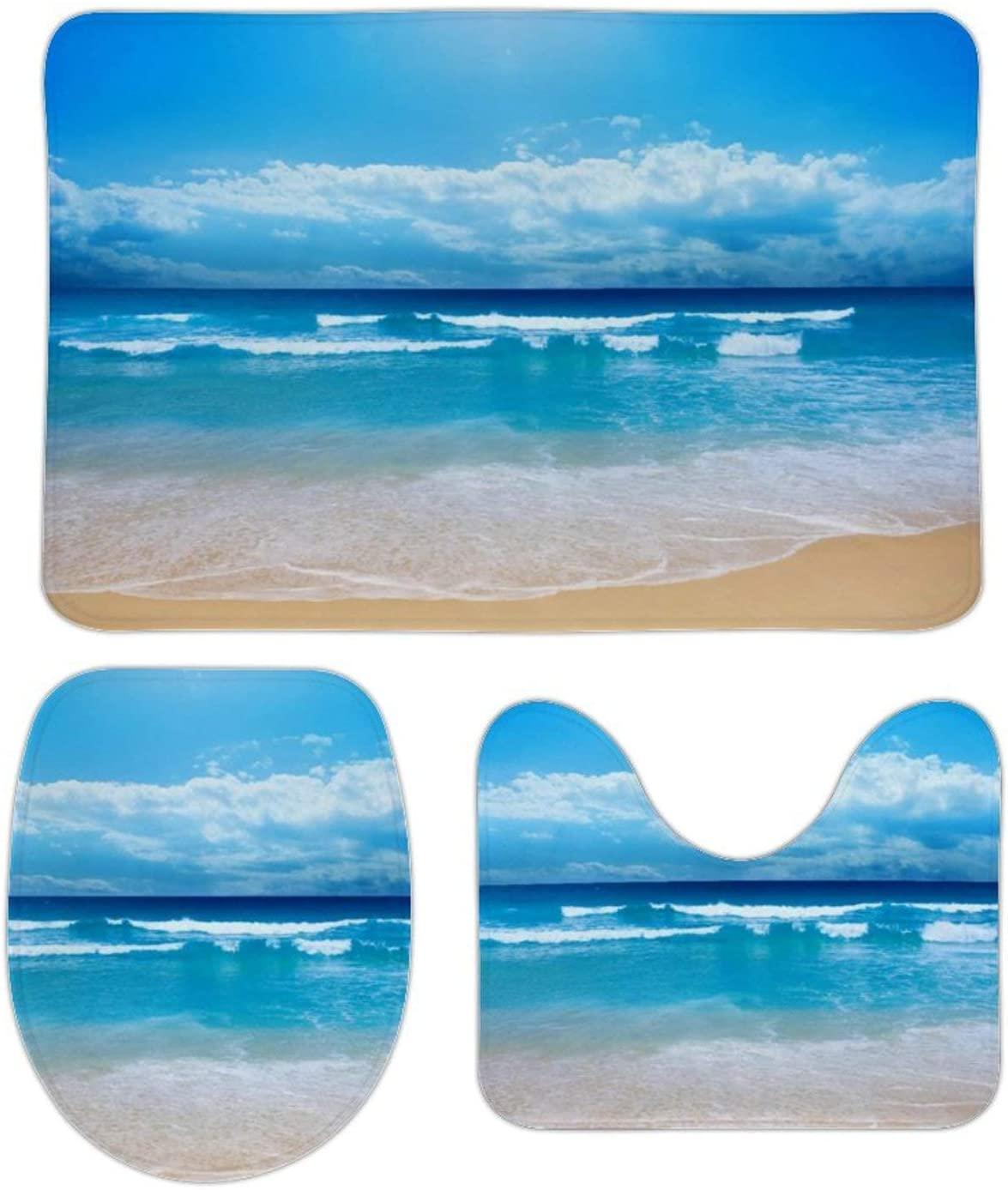 Ocean Beach Blue 3 Pieces Bathroom Rugs Set,Includes U-Shaped Contour Toilet Mat,Bath Mat and Toilet Lid Cover,Non Slip Bath Rugs for Bathroom,Tub,Shower