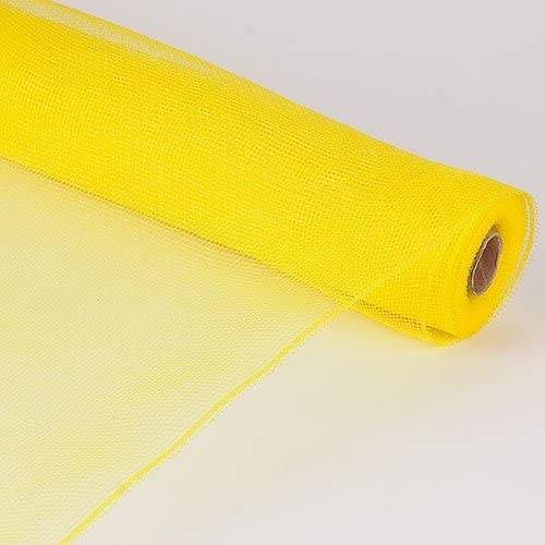 BBCrafts 10 Inch X 10 Yards Premium Decorative Flower Floral Deco Mesh Solid Color for Gift Home Decor (Yellow)