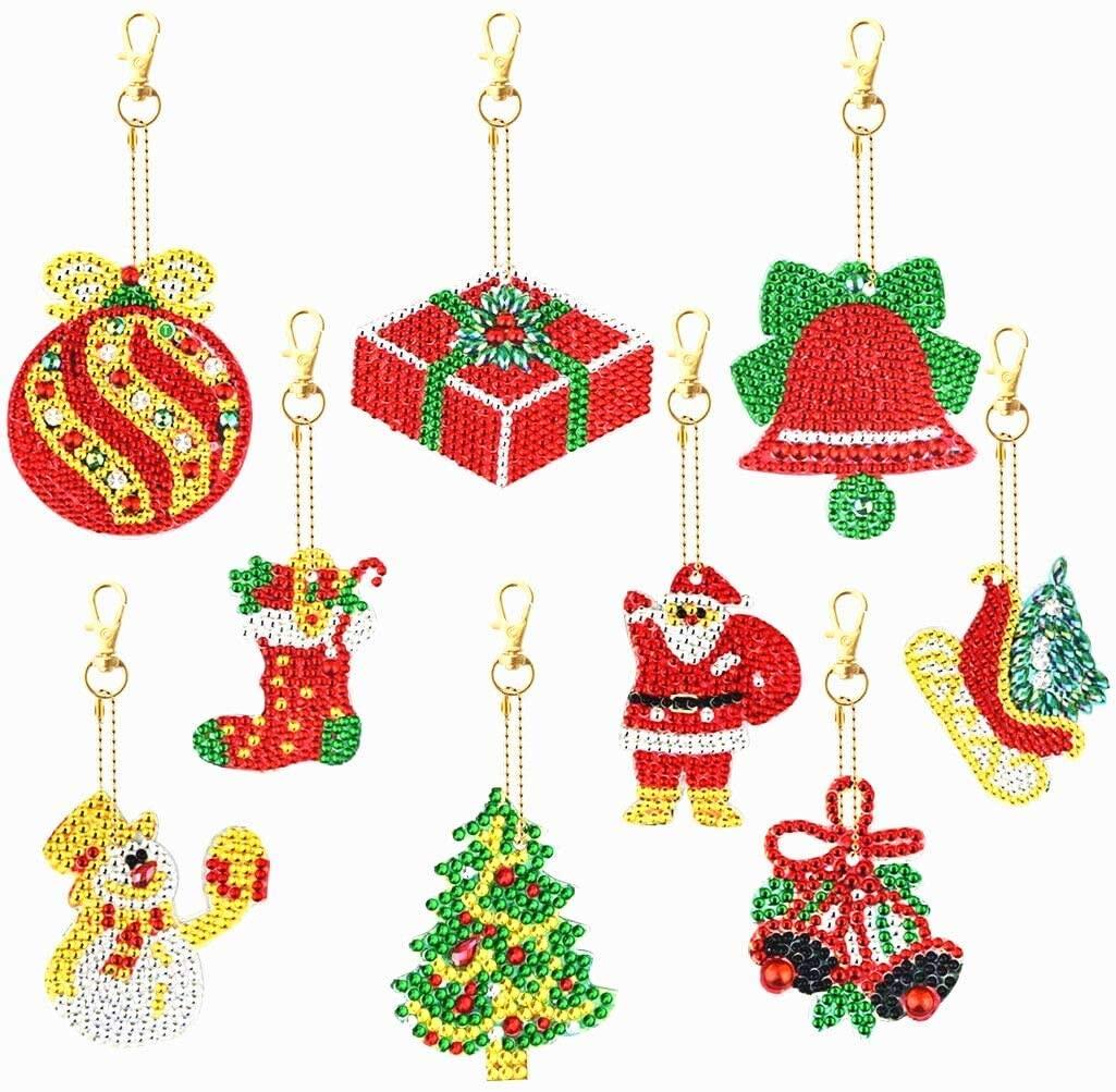 9 Pieces Christmas DIY Diamond Key Chain 5D DIY Painting Diamond Round Drill Key Chain Rhinestone Art Crafts for Christmas