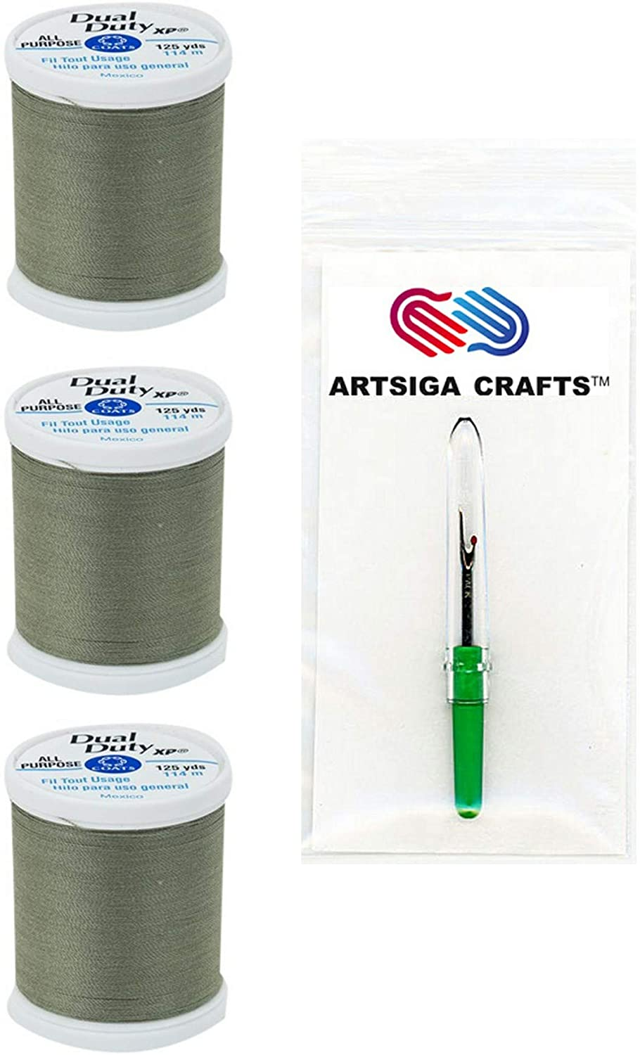 Coats & Clark Sewing Thread Dual Duty XP General Purpose Poly Thread 125 Yards (3-Pack) Green Linen Bundle with 1 Artsiga Crafts Seam Ripper S900-6180-3P