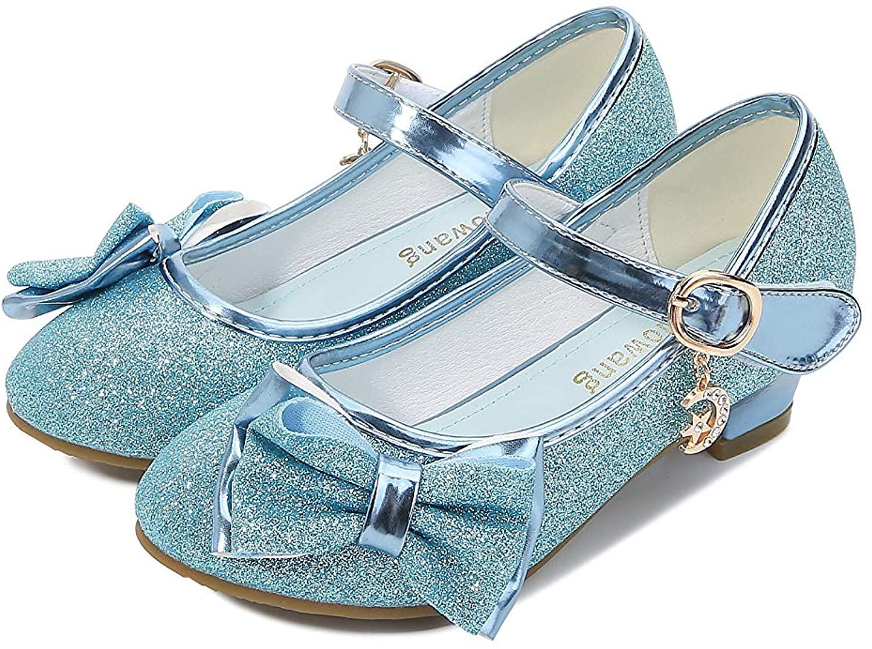 Goettin Girl Mary Jane High Heels Formal Dress Banquet Wedding Bow Glittering Princess Shoes