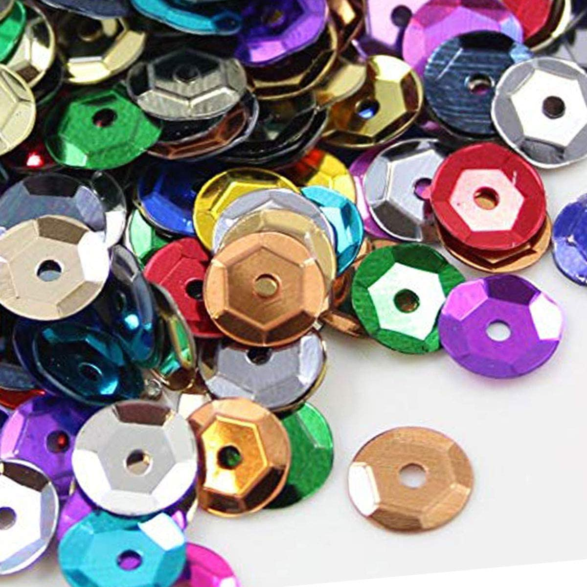 Sequins, 1600 Pcs Perforated Sequins Round Multpile Color DIY Crafts Decorations