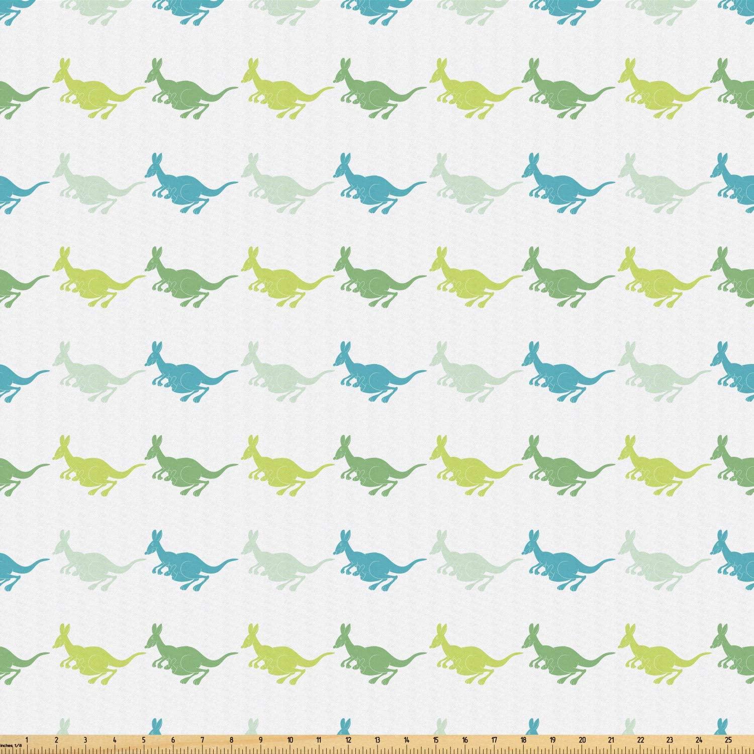 Ambesonne Kangaroo Fabric by The Yard, Group of Cheerful Kangaroos Jumping Together and Carrying Babies in The Pouch, Microfiber Fabric for Arts and Crafts Textiles & Decor, 1 Yard, Multicolor