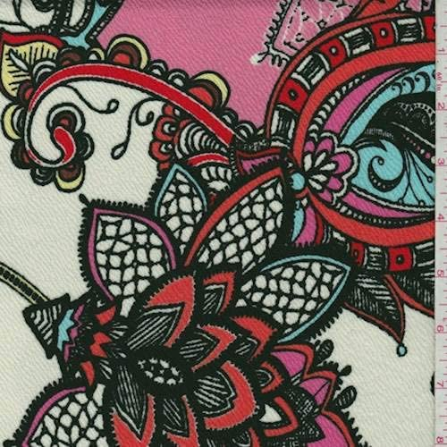 White/Pink Multi Stylized Floral Liverpool Knit, Fabric by The Yard