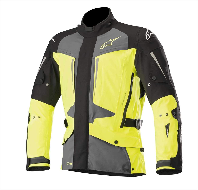 Alpinestars Men's Yaguara Drystar Waterproof Textile Motorcycle Jacket Tech-Air Compatible, Black/Dark Gray/Yellow, X-Large