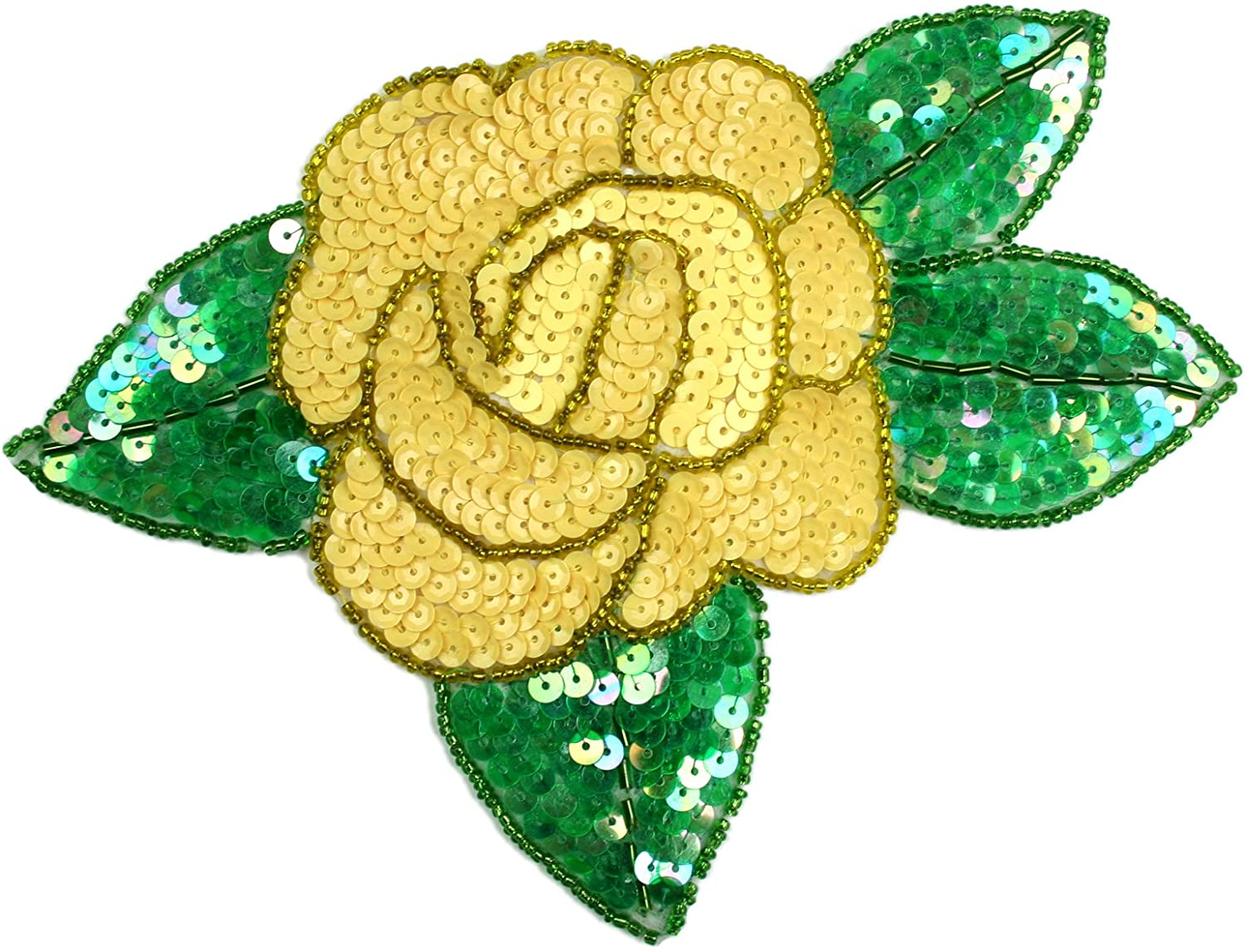 Altotux 7.5x5.5 Red Pink Purple Orange Yellow Rose Beaded Sequins Sew on Patch Applique By Piece (Yellow)