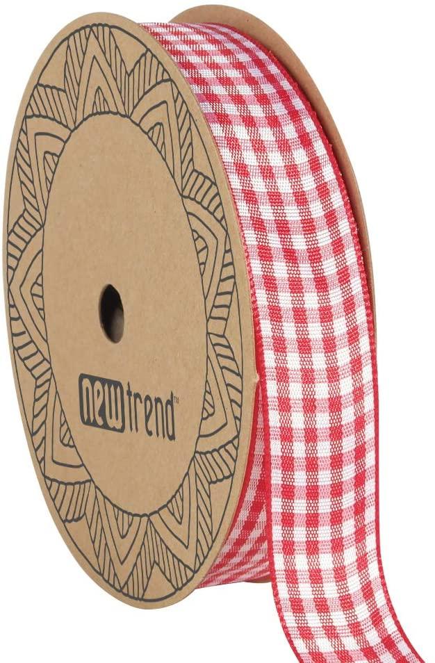 NOYI TRAXD Gingham Ribbon 25 Yard Each Roll 100% Polyester Woven Edge (7/8-Inch, Red)