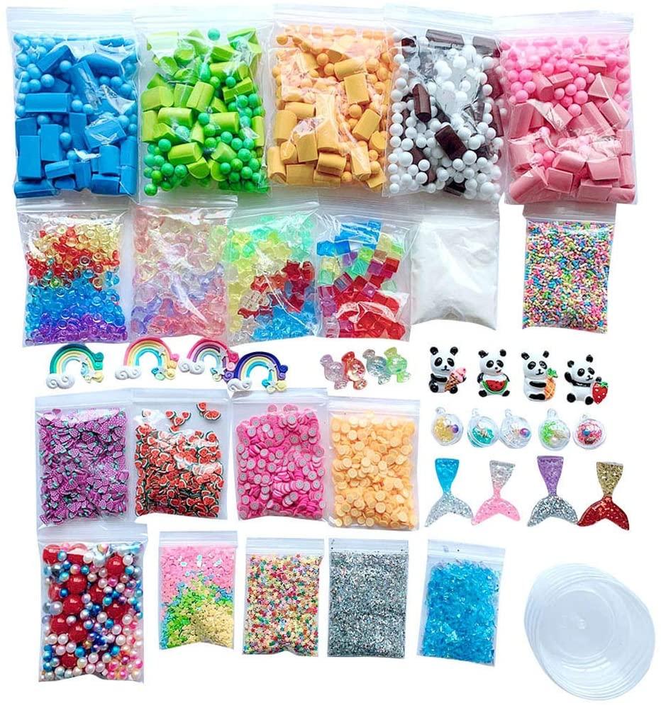 Yeefant Slime Supplies Kit Foam Beads Charms Styrofoam Balls Tools for DIY Slime Making DIY Slime Kit for Girls Boys Making Kit Arts Crafts Kid Educational Toy Learning Activity Floam Beads