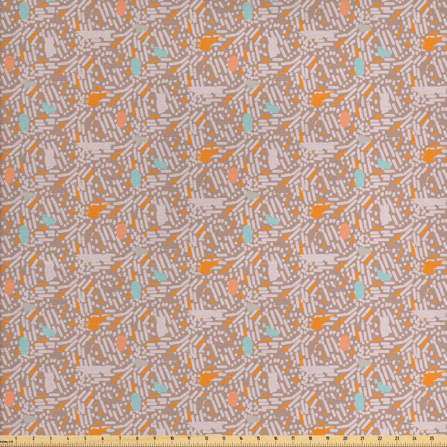 Ambesonne Abstract Fabric by The Yard, Randomly Arranged Paint Strokes and Blots in Mute Tones, Decorative Fabric for Upholstery and Home Accents, 1 Yard, Pale Rose Marigold