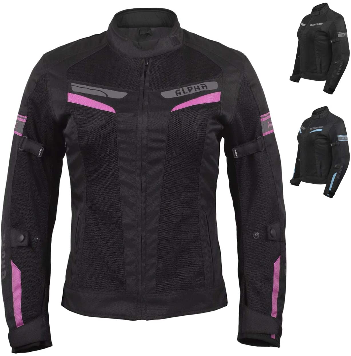 ACG LADIES ESCAPE MESH MOTORCYCLE JACKET (BLACK/PINK, SMALL)