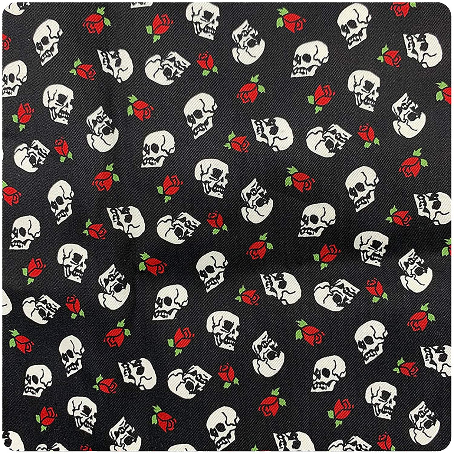 Craft Cotton Fabric Rose Skull Print Fabric for DIY Quilting Sewing Crafting 27.6×19.7in