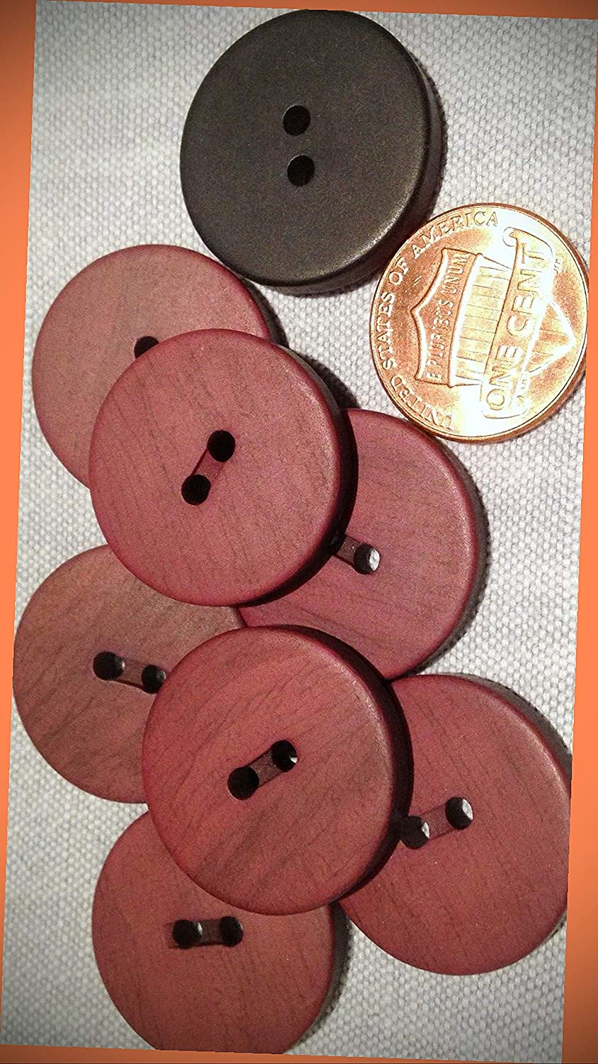 New Lot of 8 Matte Reddish Brown & Black Plastic Sew-Through DIY Sewing Buttons 23mm 7/8