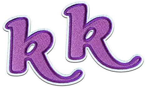 PurpleK Letter Iron on Patches 2pcs Childrens Alphabet Letter Iron on Patches Approx. 2.15 x1.81 inches