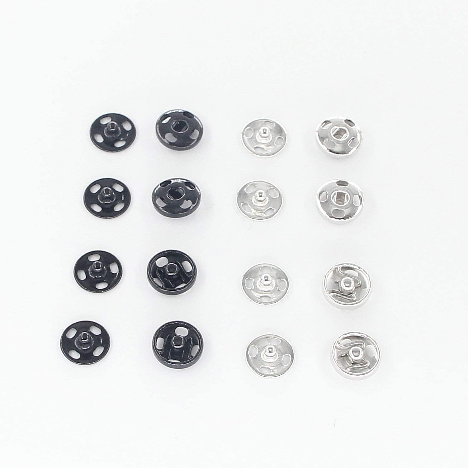 Leekayer 72 Sets Sew-on Snap Buttons Brass Snap Fastener Buttons Press Button for Sewing Clothing, Black and Silver(10 mm)