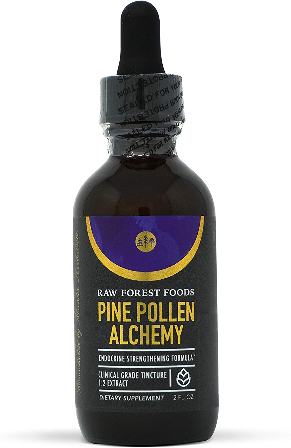 Pine Pollen Alchemy Tincture 2 Ounces — Original Endocrine Formula — Pine Pollen, He Shou Wu, Astragalus Root, Stinging Nettle Root, Chinese Ginseng Root, Cordyceps — Only from RAW Forest Foods
