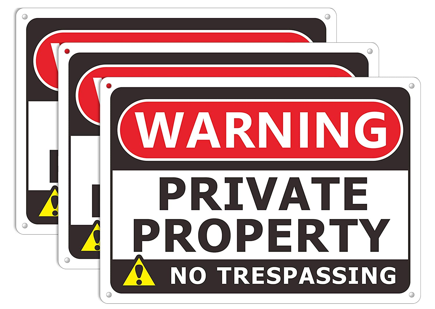 No Trespassing Sign Private Property Metal Warning Signage Easy to Read .04 Rust Free Aluminum and Weatherproof (3 Pack 10 x 7 inches)
